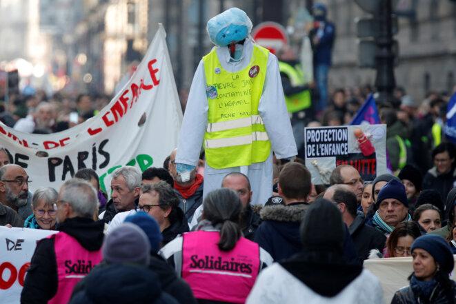 Dans la manifestation du 5 février 2019, à Paris. © Charles Platiau/Reuters