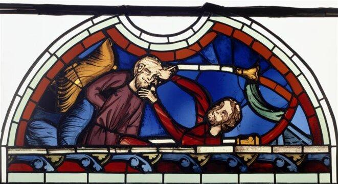 Aveuglement de Samson, vitrail exposé au musée de Cluny