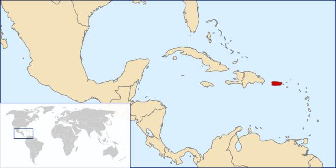 Localisation de Porto Rico, en rouge.