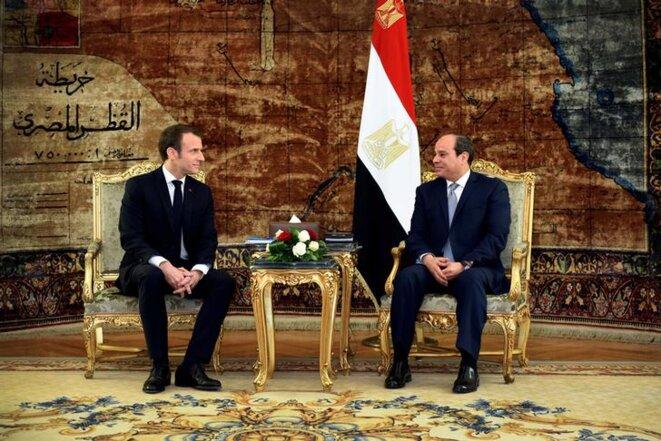 Emmanuel macron et Abdel Fattah al-Sissi, le 28 janvier 2019. © Reuters