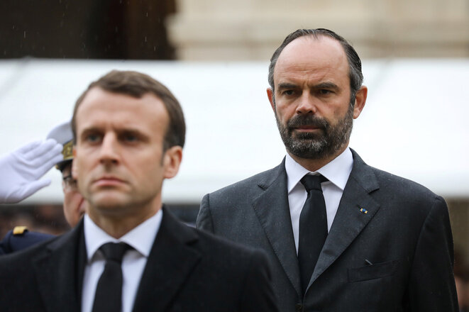Emmanuel Macron y Édouard Philippe en marzo de 2018 en París. © Reuters