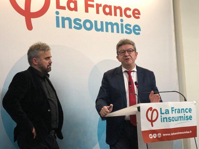 Jean-Luc Mélenchon et Alexis Corbière le 7 février 2019 à Paris © MJ © MJ