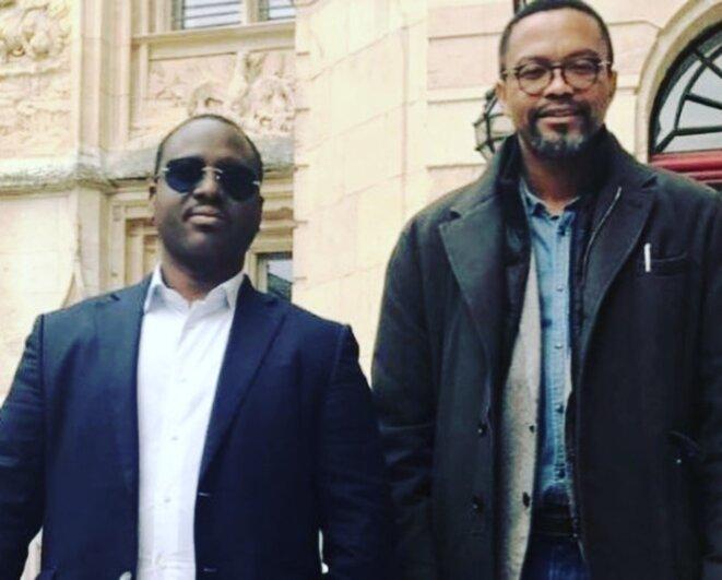 Le Leader Guillaume Soro en compagnie de son Conseiller Spécial, le Professeur Franklin Nyamsi Wa Kamerun en octobre 2017 à Rouen