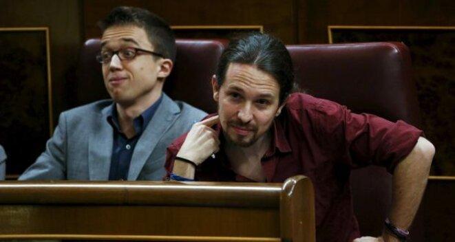 Íñigo Errejón et Pablo Iglesias. © Juan Medina/Reuters