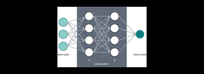 Fig. 1 : Données d'entrée (input layer), phase d'apprentissage (hidden layers) et données de sortie (output layer).