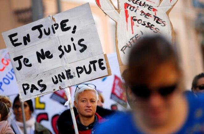 Lors de la manifestation #NousToutes contre les violences sexuelles, à Marseille, le 24 novembre 2018. © Reuters