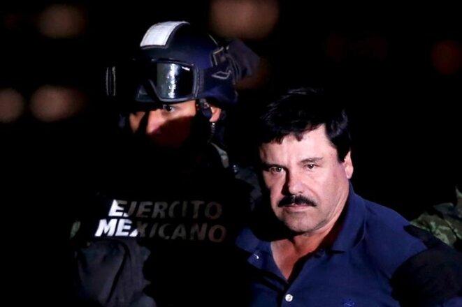 Joaquín Guzmán Loera présenté au bureau du procureur à Mexico, le 8 janvier 2016. © Reuters