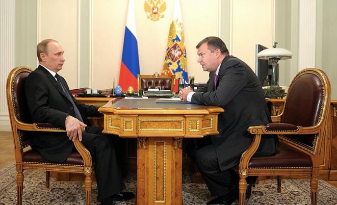 Andrey Bokarev lors de l'une de ses nombreuses rencontres avec Vladimir Poutine. Ici le 28 février 2014, dans la résidence privée du président russe. © de