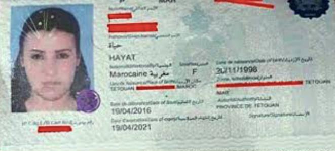 Copie du passeport de Hayat Belkacem. © le desk