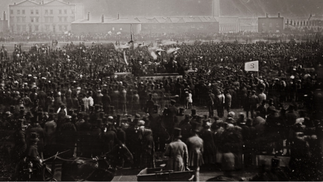Photo du dernier meeting de masse du mouvement chartiste, à Kennington Common, Londres, le 10 avril 1848 © Wikipedia