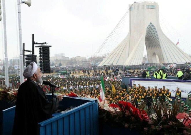 Le président iranien à la tribune, à Téhéran, le 11 février 2019. © Reuters