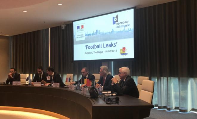 La conférence de presse d'Eurojust sur les Football Leaks, mardi 19 février 2019 à La Haye (Pays-Bas). © Eurojust