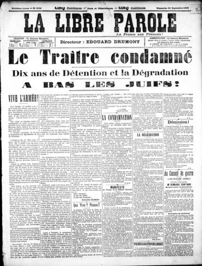 « La Libre Parole », journal antisémite au temps de l'affaire Dreyfus.