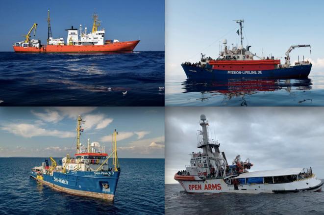 Ces quatre bateaux d'ONG ont été bloqués, au moins une fois, au large de Malte ou de l'Italie avec des rescapés à bord : l'« Aquarius », le « Lifeline », le « Sea Watch » et l'« Open Arms » (de bas en haut et de gauche à droite). © DR