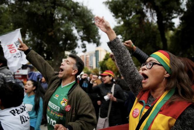 Des opposants à Evo Morales, le 27 janvier 2019 à La Paz. © REUTERS/David Mercado