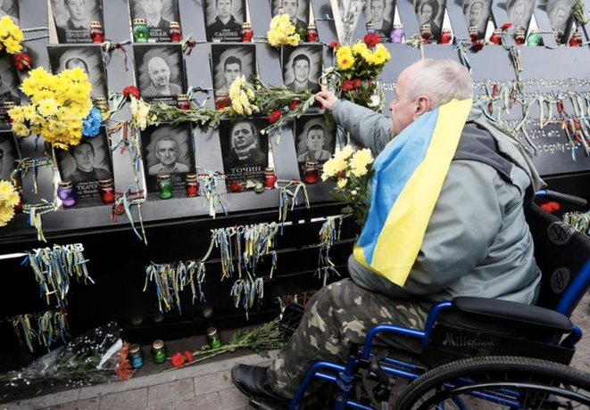 Place Maïdan à Kiev, le 21 novembre 2018, lors d'une commémoration des morts de la révolution de 2014. © REUTERS/Valentyn Ogirenko
