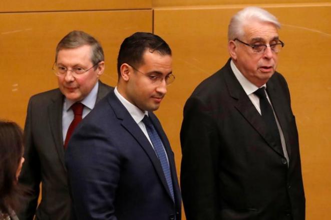 Philippe Bas, Alexandre Benalla et Jean-Pierre Sueur, le 21 janvier. © Reuters
