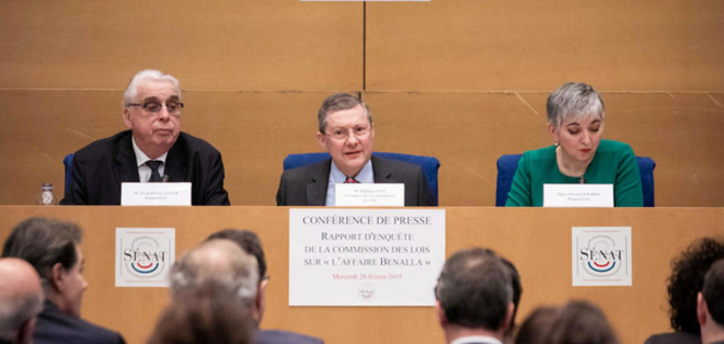 Les sénateurs Jean-Pierre Sueur, Philippe Bas et Muriel Jourda, mercredi 20 février, lors de la conférence de presse.