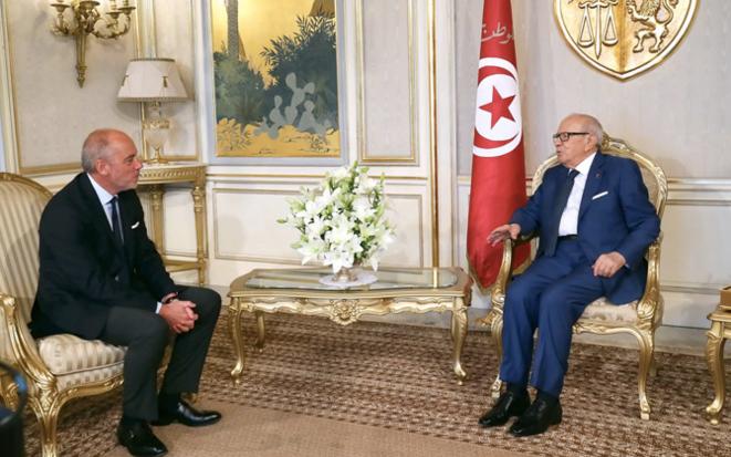Stéphane Richard reçu par Beji Caïd Essebssi en 2017 © DR