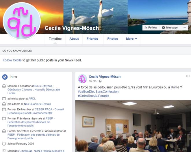 Sur son compte Facebook, Cécile Vignes-Mösch décrit ses différents engagements citoyens.