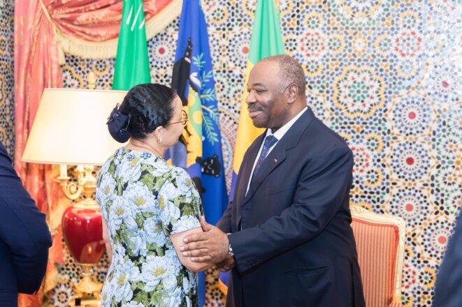 Le président Ali Bongo Ondimba et la présidente du Sénat, Mme Lucie Milebou-Aubusson