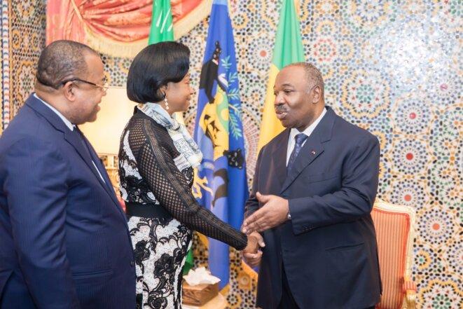 e président Ali Bongo Ondimba et la présidente de la Cour constitutionnelle, Mme Marie Madeleine Mborantsuo