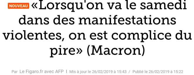 http://www.lefigaro.fr/flash-actu/2019/02/26/97001-20190226FILWWW00142-lorsqu-on-va-le-samedi-dans-des-manifestations-violentes-on-est-complice-du-pire-macron.php