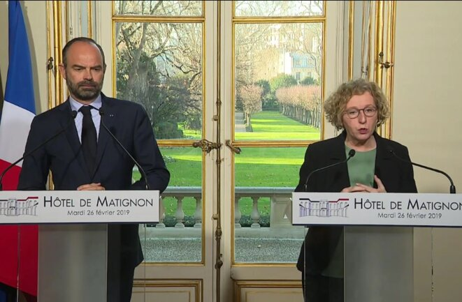 Édouard Philippe et Muriel Pénicaud, à Matignon le 26 février. © capture d'écran - site internet de Matignon