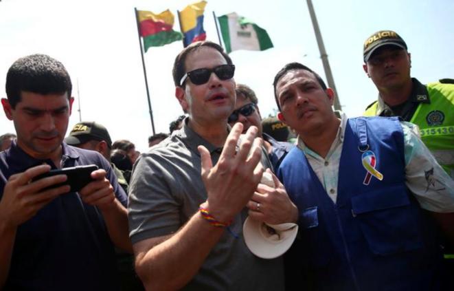 Le sénateur de Floride Marco Rubio lors d'une conférence de presse à la frontière entre la Colombie et le Venezuela, le 17 février. © Reuters