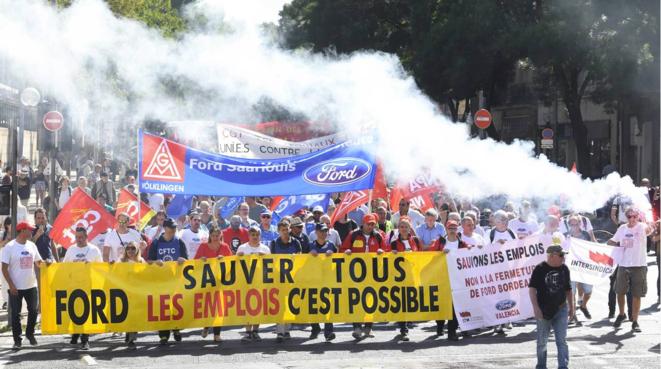 Manifestation des ouvriers de l'usine Ford de Blanquefort à l'été 2018. © DR