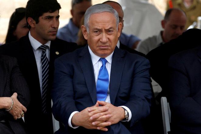 À six semaines des élections, Netanyahou peut bien faire la grimace. © Reuters