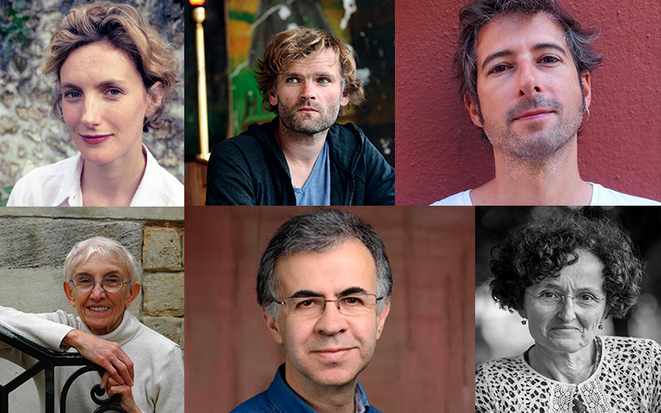 De haut en bas et de gauche à droite : Anna Gavalda, Olivier Adam, Gilles Marchand, Annie Saumont, Éric Faye et Marie-Hélène Lafon. DR