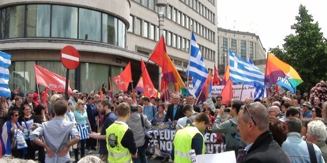 Demonstration in front of the European Parliament in solidarity to the Greek people