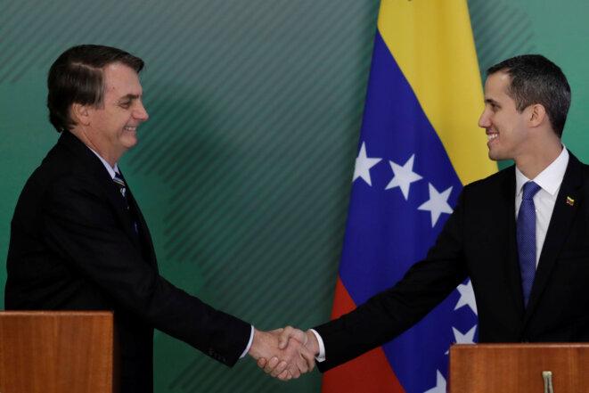 Jair Bolsonaro et Juan Guaidó le 28 février 2019 à Brasilia. © Reuters / Ueslei Marcelino.