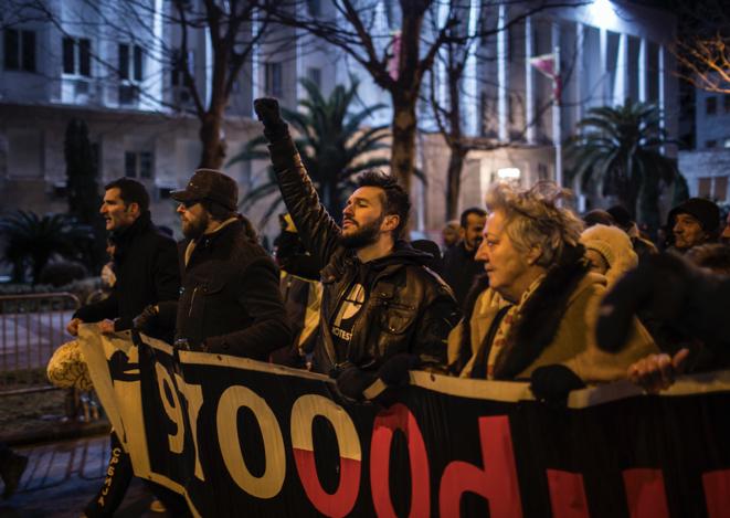 Manifestation à Podgorica, le 23 février 2019. © Rafael Yaghobzadeh