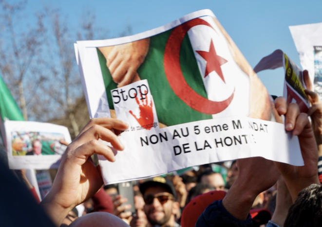 A protest in Paris against a fifth term of office for Algerian president Abdelaziz Bouteflika. © Rachida El Azzouzi