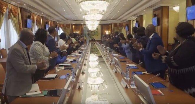 Gabon-Libreville-Président Ali Bongo  et l'ensemble du gouvernement - -Conseil des ministres du 26 Février 2019