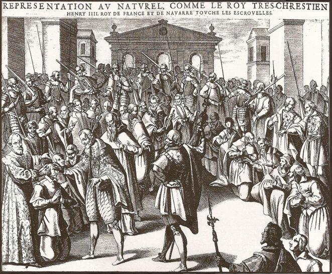 Henri IV touchant les écrouelles, gravure de Pierre Firens extraite de l'ouvrage d'André du Laurens, De strumis earum causis et curæ, 1609 © Pierre Firens