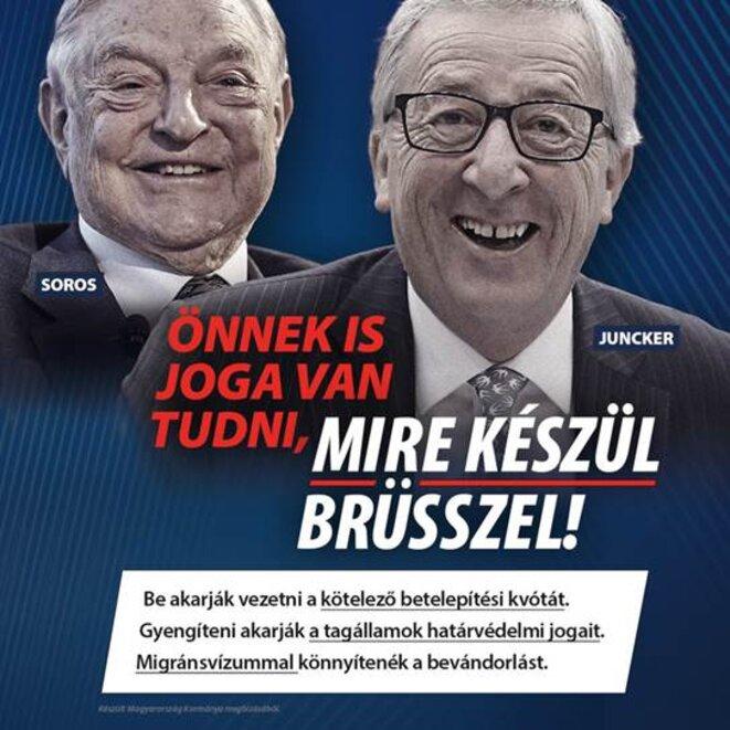 Les figures de Soros et Juncker stigmatisées par la campagne du gouvernement hongrois.