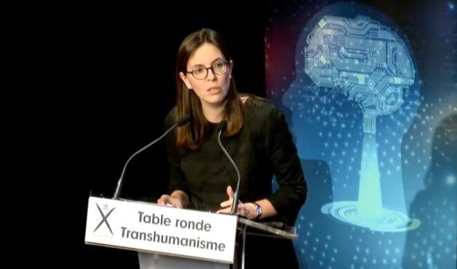 Amélie de Montchalin, députée LREM de l'Essonne, en introduction de la conférence transhumaniste à Polytechnique