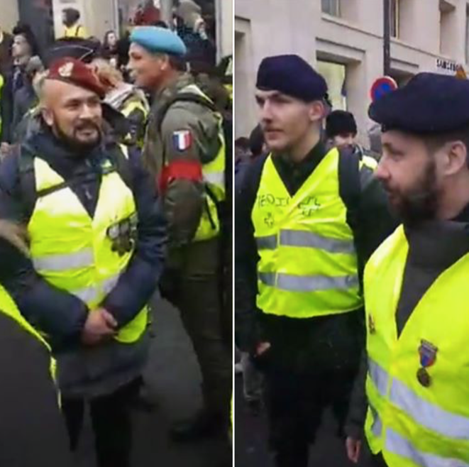 Screen grab from the Facebook page of Victor Lenta (with the red beret on the left) during a yellow vest protest in Paris. © DR