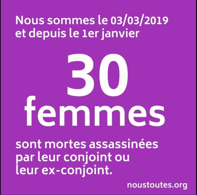 Page Facebook de Nous Toutes où l'évolution du nombre de morts violentes dans les couples est annoncée régulièrement.