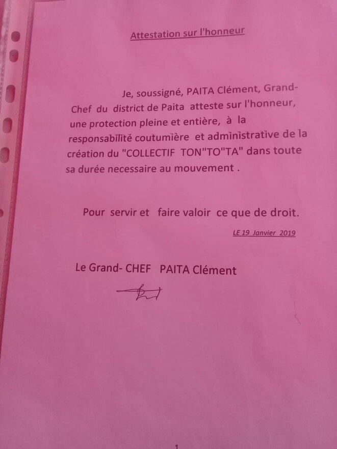 Communiqué du grand Chef PAÏTA Clément.