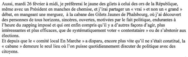 Extrait de la lettre de six pages envoyées à Emmanuel Macron fin février 2019.