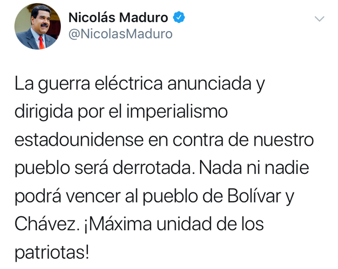 Capture d'écran d'un tweet de Nicolas Maduro le 8 mars