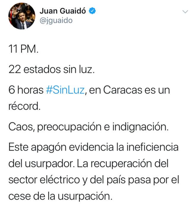 Capture d'écran d'un tweet de Juan Guaido le 8 mars