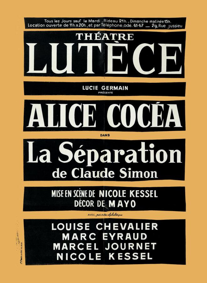 """affiche pour le spectacle """"La séparation"""" © affiche© Bibliothèque littéraire Jacques Doucet, SMN Ms 25 (3)."""