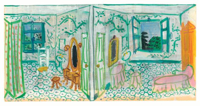 """Croqui  de Claue Silon pour """"La séparation"""" © © Claude Simon, gouache sur papier journal. SMN Ms 25 (1) 78/83, Bibliothèque Littéraire Jacques Doucet."""