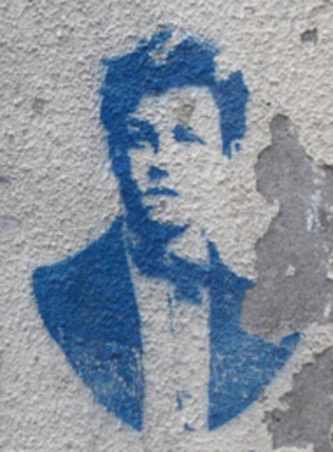 Rimbaud sur le mur (à Laval), par Jean-Christophe Lerouge
