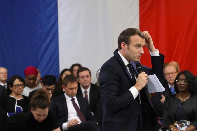 Emmanuel Macron lors d'un débat organisé à Evry-Courcouronnes (Essonne), le 4 février. © Reuters